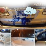 ผู้ชุมนุม ไม่หวังดีกลุ่มหนึ่งได้ พ่นสีใส่รถตำรวจ จนได้รับความเสียหาย